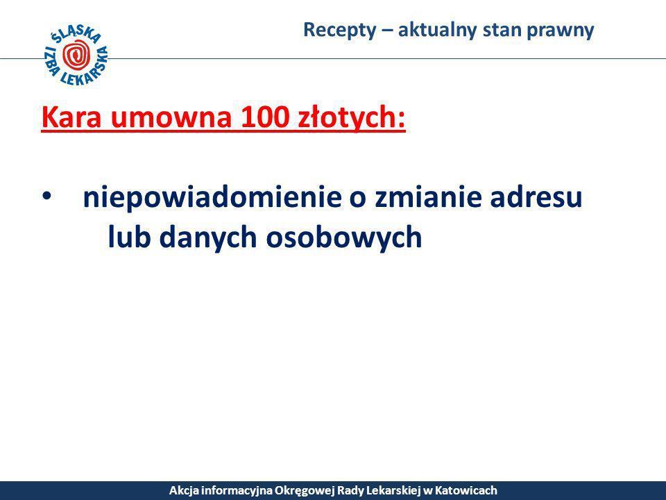 Recepty – aktualny stan prawny Akcja informacyjna Okręgowej Rady Lekarskiej w Katowicach Kara umowna 100 złotych: niepowiadomienie o zmianie adresu lu