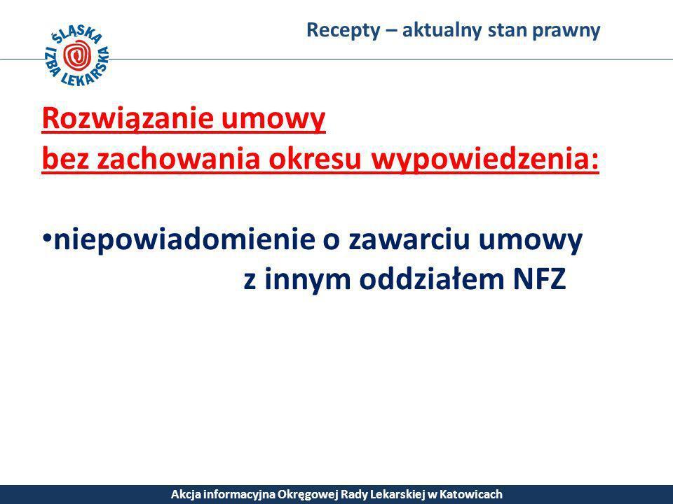 Recepty – aktualny stan prawny Akcja informacyjna Okręgowej Rady Lekarskiej w Katowicach Rozwiązanie umowy bez zachowania okresu wypowiedzenia: niepow