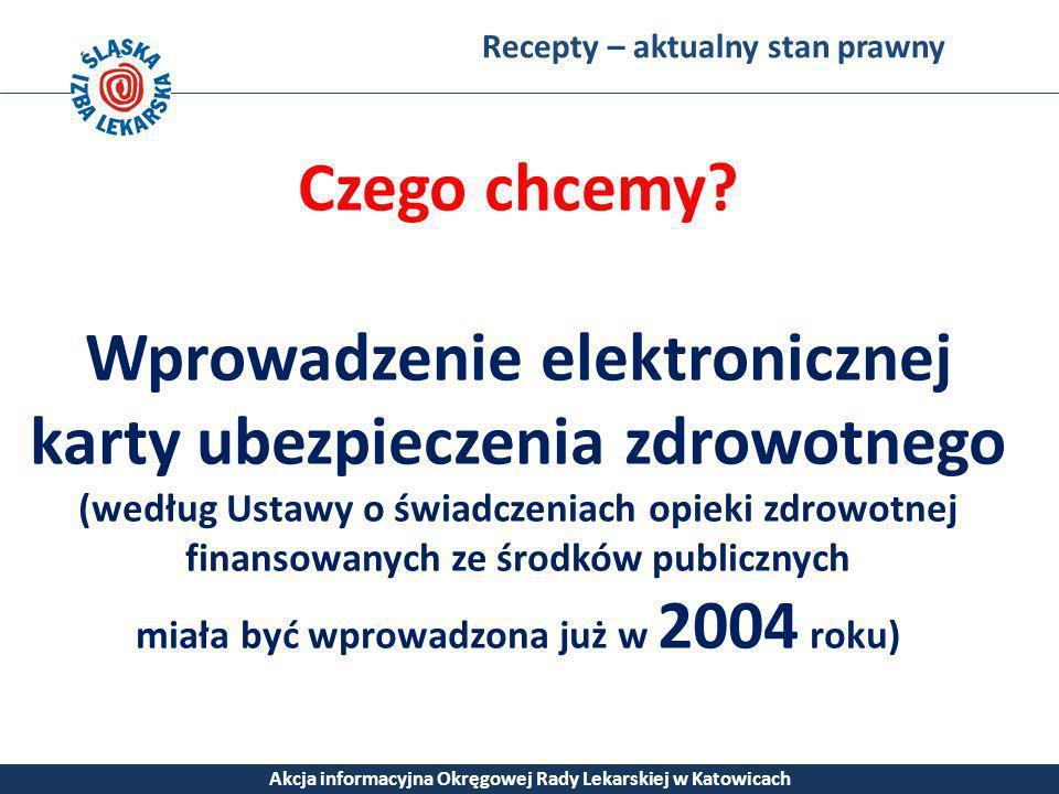 Recepty – aktualny stan prawny Akcja informacyjna Okręgowej Rady Lekarskiej w Katowicach Czego chcemy? Wprowadzenie elektronicznej karty ubezpieczenia