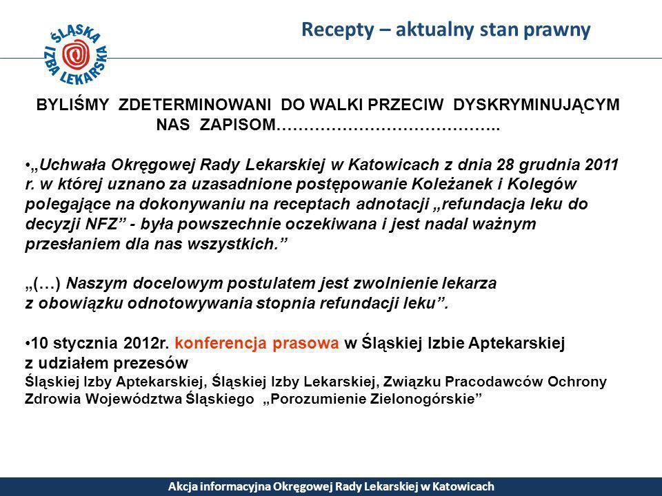 Recepty – aktualny stan prawny Akcja informacyjna Okręgowej Rady Lekarskiej w Katowicach BYLIŚMY ZDETERMINOWANI DO WALKI PRZECIW DYSKRYMINUJĄCYM NAS Z