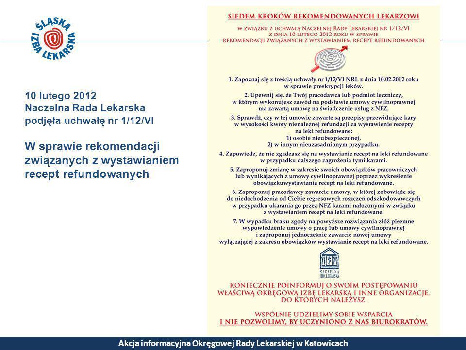 Akcja informacyjna Okręgowej Rady Lekarskiej w Katowicach 10 lutego 2012 Naczelna Rada Lekarska podjęła uchwałę nr 1/12/VI W sprawie rekomendacji zwią