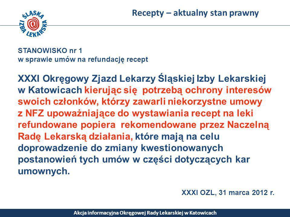 Recepty – aktualny stan prawny Akcja informacyjna Okręgowej Rady Lekarskiej w Katowicach STANOWISKO nr 1 w sprawie umów na refundację recept XXXI Okrę