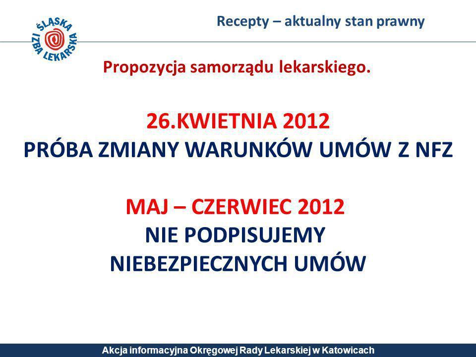 Recepty – aktualny stan prawny Akcja informacyjna Okręgowej Rady Lekarskiej w Katowicach 26.KWIETNIA 2012 PRÓBA ZMIANY WARUNKÓW UMÓW Z NFZ MAJ – CZERW