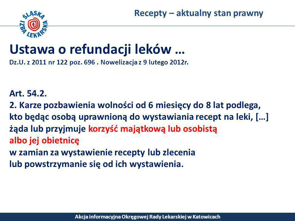 Recepty – aktualny stan prawny Akcja informacyjna Okręgowej Rady Lekarskiej w Katowicach Ustawa o refundacji leków … Dz.U. z 2011 nr 122 poz. 696. Now