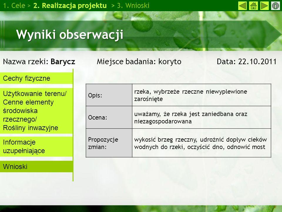 Wyniki obserwacji Nazwa rzeki: Barycz Miejsce badania: koryto Data: 22.10.2011 1. Cele > 2. Realizacja projektu > 3. Wnioski Cechy fizyczne Użytkowani
