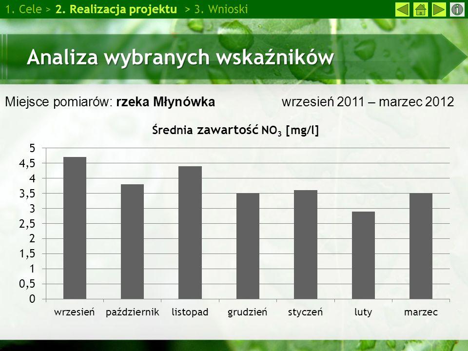 Analiza wybranych wskaźników 1. Cele > 2. Realizacja projektu > 3. Wnioski Miejsce pomiarów: rzeka Młynówka wrzesień 2011 – marzec 2012
