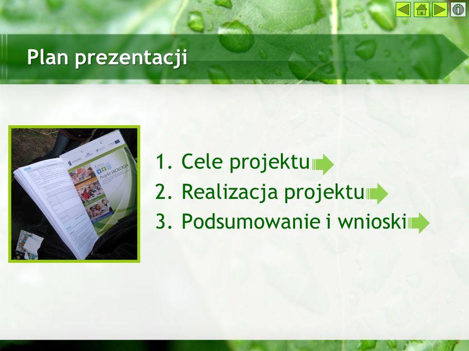 Plan prezentacji 1.Cele projektu 2.Realizacja projektu 3.Podsumowanie i wnioski