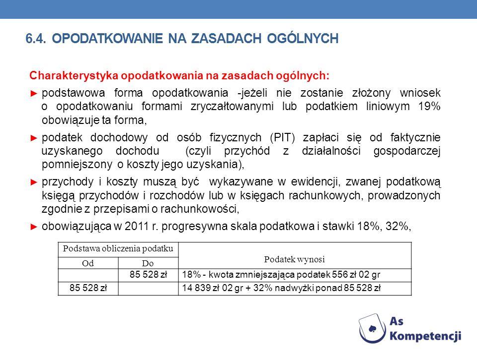 Charakterystyka opodatkowania na zasadach ogólnych: podstawowa forma opodatkowania -jeżeli nie zostanie złożony wniosek o opodatkowaniu formami zrycza