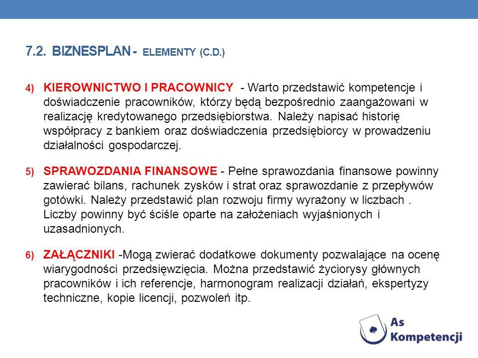 7.2. BIZNESPLAN - ELEMENTY (C.D.) 4) KIEROWNICTWO I PRACOWNICY - Warto przedstawić kompetencje i doświadczenie pracowników, którzy będą bezpośrednio z