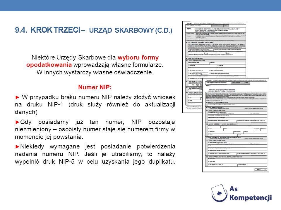 9.4. KROK TRZECI – URZĄD SKARBOWY (C.D.) Niektóre Urzędy Skarbowe dla wyboru formy opodatkowania wprowadzają własne formularze. W innych wystarczy wła