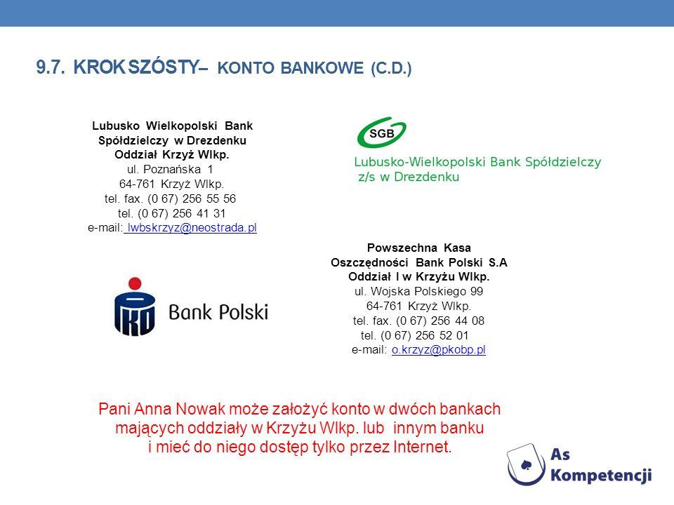 9.7. KROK SZÓSTY – KONTO BANKOWE (C.D.) Pani Anna Nowak może założyć konto w dwóch bankach mających oddziały w Krzyżu Wlkp. lub innym banku i mieć do