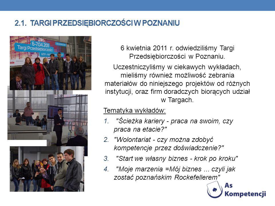 2.1. TARGI PRZEDSIĘBIORCZOŚCI W POZNANIU 6 kwietnia 2011 r. odwiedziliśmy Targi Przedsiębiorczości w Poznaniu. Uczestniczyliśmy w ciekawych wykładach,