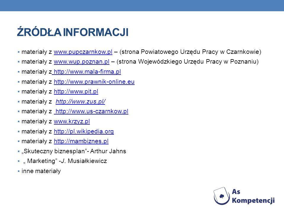 ŹRÓDŁA INFORMACJI materiały z www.pupczarnkow.pl – (strona Powiatowego Urzędu Pracy w Czarnkowie)www.pupczarnkow.pl materiały z www.wup.poznan.pl – (s