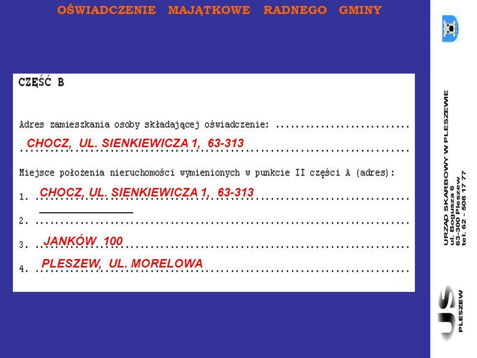 OŚWIADCZENIE MAJĄTKOWE RADNEGO GMINY CHOCZ, UL. SIENKIEWICZA 1, 63-313 JANKÓW 100 PLESZEW, UL.