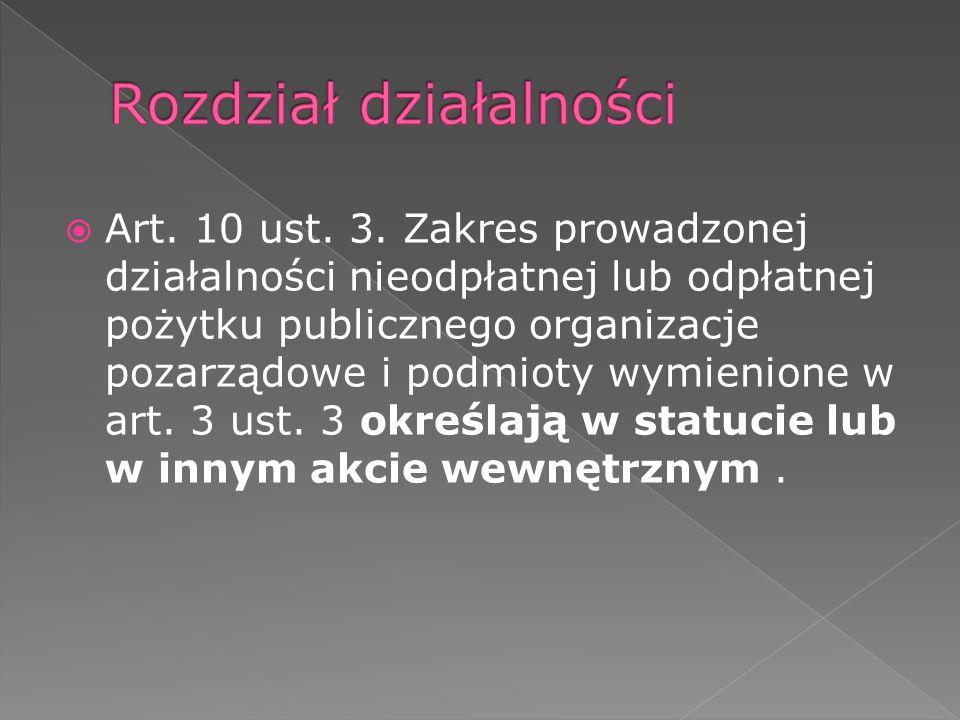 Art. 10 ust. 3. Zakres prowadzonej działalności nieodpłatnej lub odpłatnej pożytku publicznego organizacje pozarządowe i podmioty wymienione w art. 3