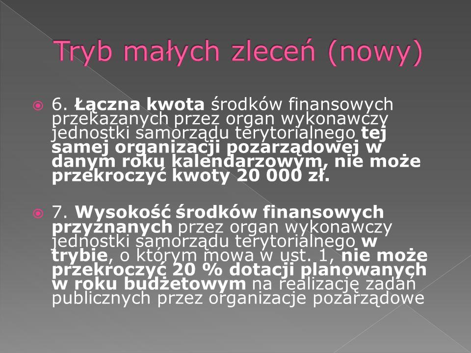 6. Łączna kwota środków finansowych przekazanych przez organ wykonawczy jednostki samorządu terytorialnego tej samej organizacji pozarządowej w danym