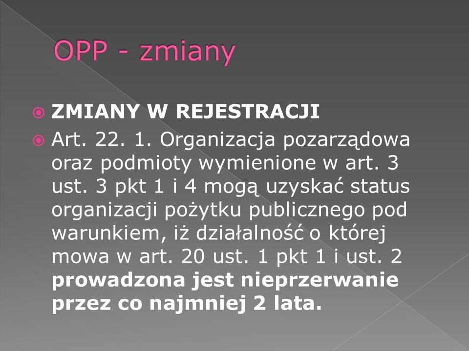 ZMIANY W REJESTRACJI Art. 22. 1. Organizacja pozarządowa oraz podmioty wymienione w art.