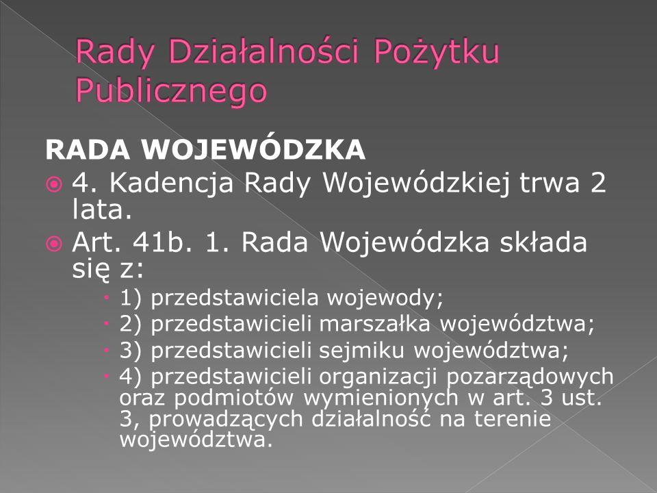 RADA WOJEWÓDZKA 4. Kadencja Rady Wojewódzkiej trwa 2 lata.