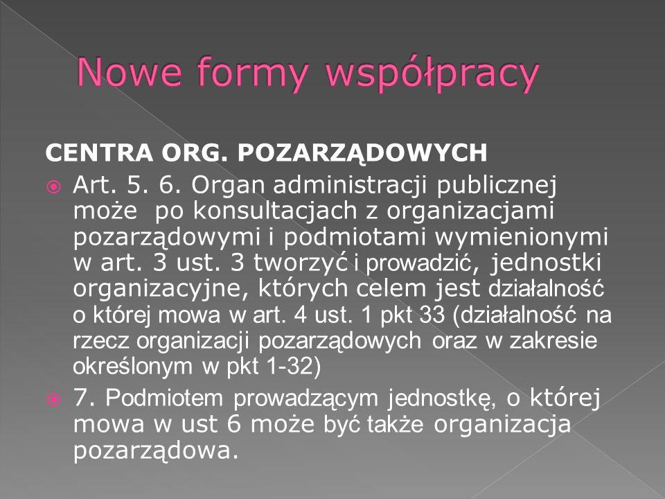 CENTRA ORG. POZARZĄDOWYCH Art. 5. 6.