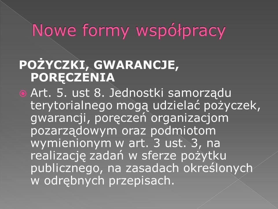 POŻYCZKI, GWARANCJE, PORĘCZENIA Art. 5. ust 8. Jednostki samorządu terytorialnego mogą udzielać pożyczek, gwarancji, poręczeń organizacjom pozarządowy