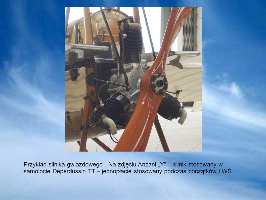 Przykład silnika gwiazdowego. Na zdjęciu Anzani Y - silnik stosowany w samolocie Deperdussin TT – jednopłacie stosowany podczas początków I WŚ.