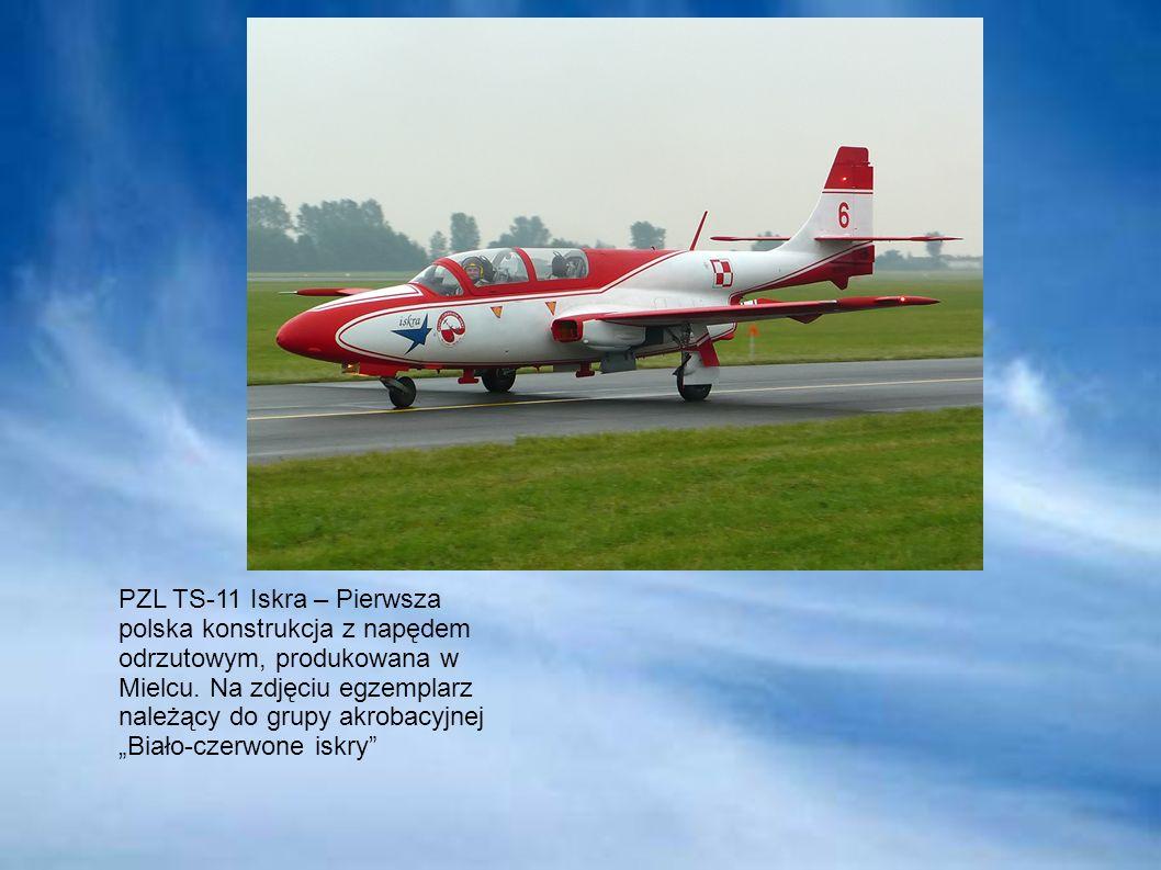 PZL TS-11 Iskra – Pierwsza polska konstrukcja z napędem odrzutowym, produkowana w Mielcu. Na zdjęciu egzemplarz należący do grupy akrobacyjnej Biało-c