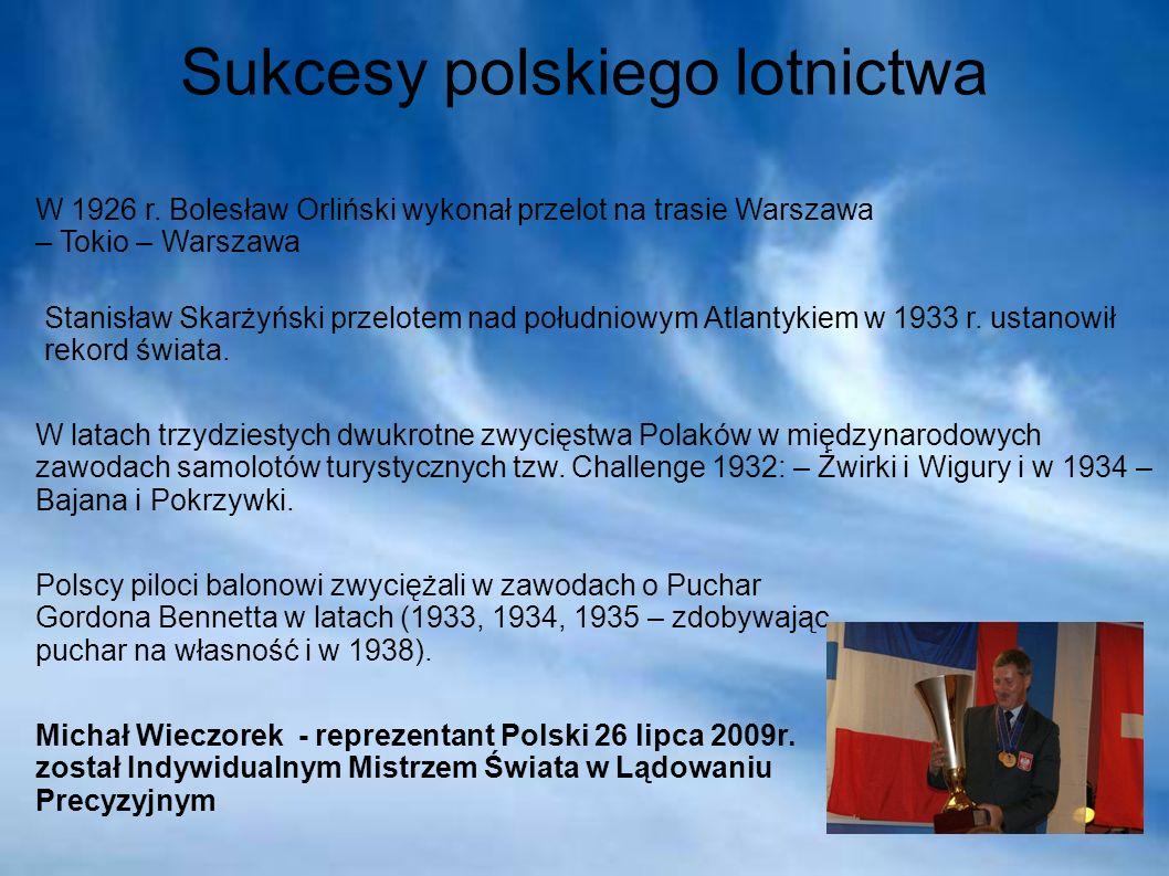 Sukcesy polskiego lotnictwa W 1926 r. Bolesław Orliński wykonał przelot na trasie Warszawa – Tokio – Warszawa Stanisław Skarżyński przelotem nad połud