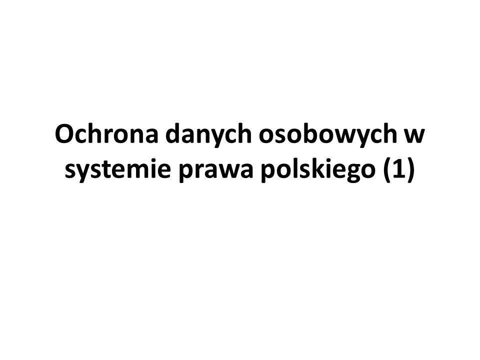 Ochrona danych osobowych w systemie prawa polskiego Konstytucja Ustawa o ochronie danych osobowych