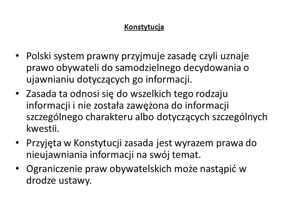 Konstytucja Polski system prawny przyjmuje zasadę czyli uznaje prawo obywateli do samodzielnego decydowania o ujawnianiu dotyczących go informacji. Za
