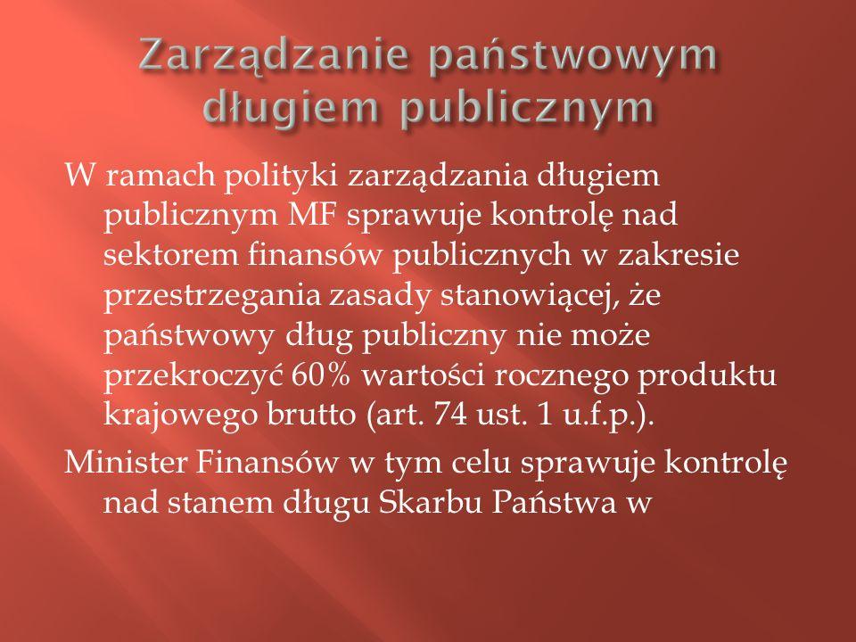 W ramach polityki zarządzania długiem publicznym MF sprawuje kontrolę nad sektorem finansów publicznych w zakresie przestrzegania zasady stanowiącej,