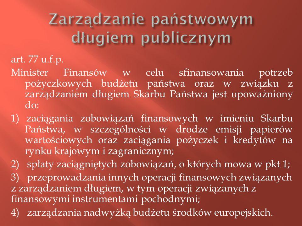 art. 77 u.f.p. Minister Finansów w celu sfinansowania potrzeb pożyczkowych budżetu państwa oraz w związku z zarządzaniem długiem Skarbu Państwa jest u