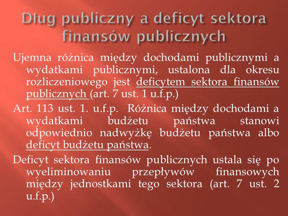 Ujemna różnica między dochodami publicznymi a wydatkami publicznymi, ustalona dla okresu rozliczeniowego jest deficytem sektora finansów publicznych (