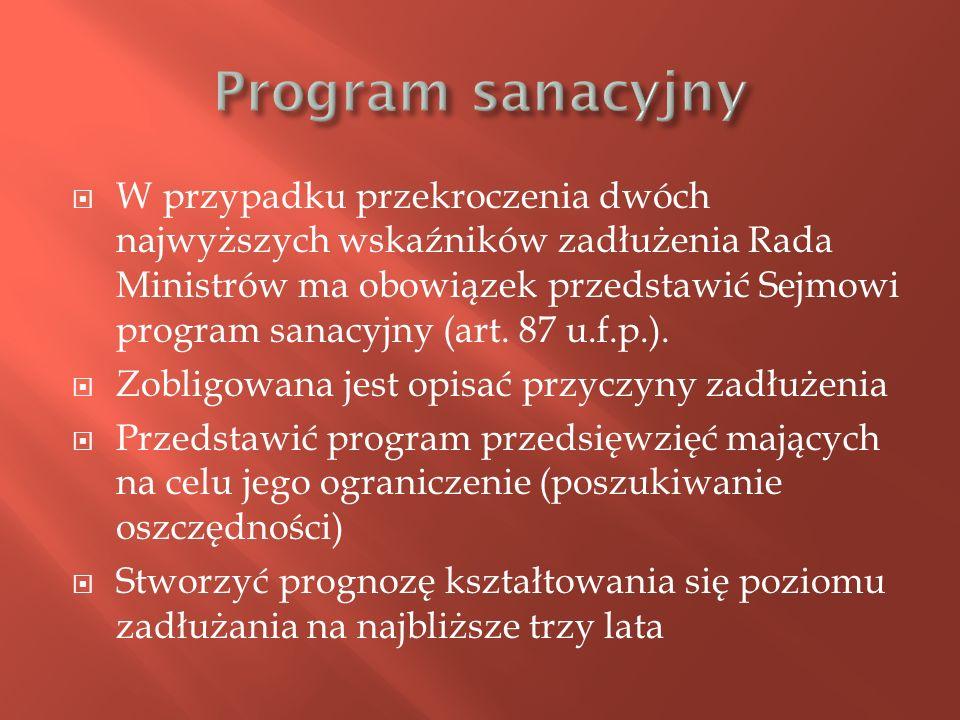 W przypadku przekroczenia dwóch najwyższych wskaźników zadłużenia Rada Ministrów ma obowiązek przedstawić Sejmowi program sanacyjny (art. 87 u.f.p.).