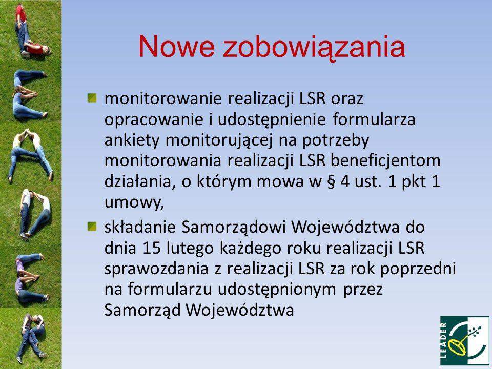 Nowe zobowiązania monitorowanie realizacji LSR oraz opracowanie i udostępnienie formularza ankiety monitorującej na potrzeby monitorowania realizacji