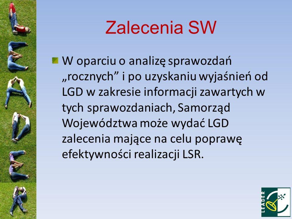 Zalecenia SW W oparciu o analizę sprawozdań rocznych i po uzyskaniu wyjaśnień od LGD w zakresie informacji zawartych w tych sprawozdaniach, Samorząd W