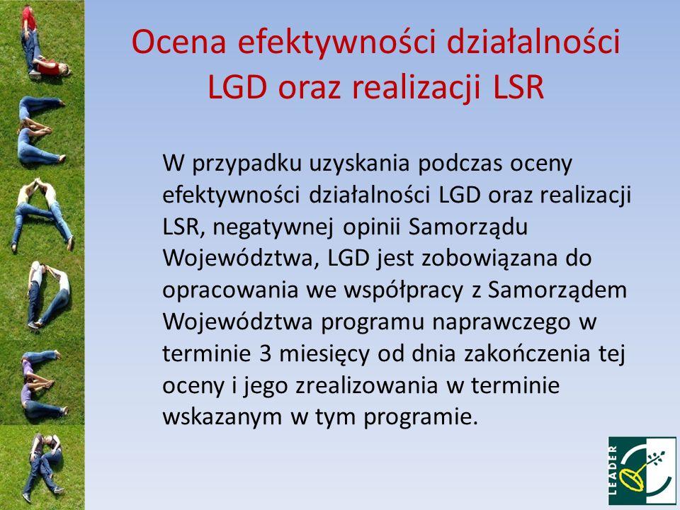Ocena efektywności działalności LGD oraz realizacji LSR W przypadku uzyskania podczas oceny efektywności działalności LGD oraz realizacji LSR, negatyw