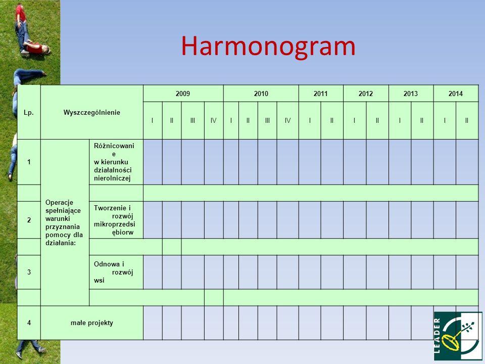 Harmonogram Lp.Wyszczególnienie 200920102011201220132014 IIIIIIIVIIIIIIIVIIII I I 1 Operacje spełniające warunki przyznania pomocy dla działania: Różn