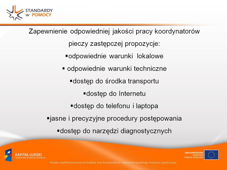 Zapewnienie odpowiedniej jakości pracy koordynatorów pieczy zastępczej propozycje: odpowiednie warunki lokalowe odpowiednie warunki techniczne dostęp