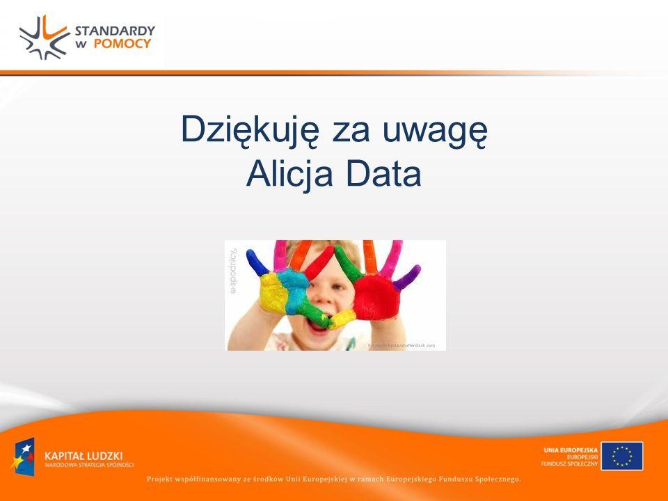Dziękuję za uwagę Alicja Data