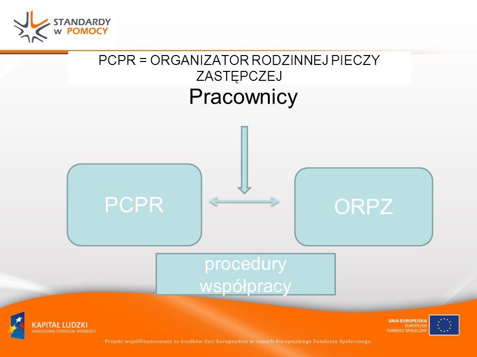 PCPR = ORGANIZATOR RODZINNEJ PIECZY ZASTĘPCZEJ Pracownicy PCPR ORPZ procedury współpracy
