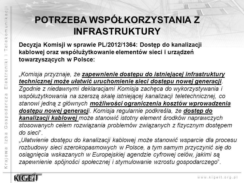 Krajowa Izba Gospodarcza Elektroniki i Telekomunikacji www.kigeit.org.pl POTRZEBA WSPÓŁKORZYSTANIA Z INFRASTRUKTURY Decyzja Komisji w sprawie PL/2012/1364: Dostęp do kanalizacji kablowej oraz współużytkowanie elementów sieci i urządzeń towarzyszących w Polsce: Komisja przyznaje, że zapewnienie dostępu do istniejącej infrastruktury technicznej może ułatwić uruchomienie sieci dostępu nowej generacji.