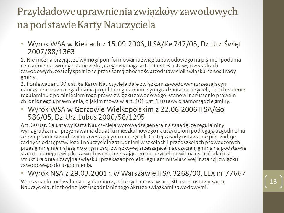 Przykładowe uprawnienia związków zawodowych na podstawie Karty Nauczyciela Wyrok WSA w Kielcach z 15.09.2006, II SA/Ke 747/05, Dz.Urz.Święt 2007/88/1363 1.