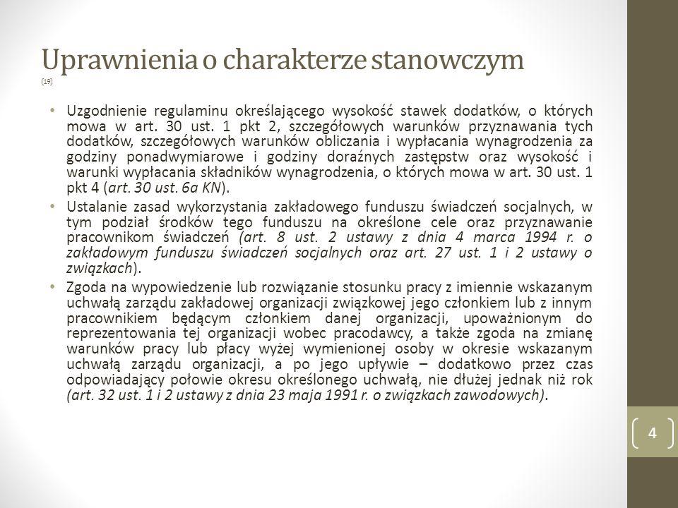 Uprawnienia o charakterze stanowczym Zawarcie zakładowego układu zbiorowego pracy (art.
