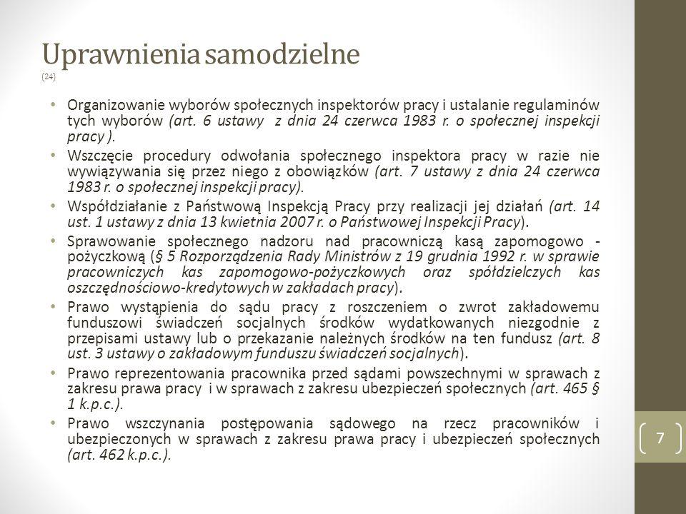 Uprawnienia samodzielne (24) Organizowanie wyborów społecznych inspektorów pracy i ustalanie regulaminów tych wyborów (art.