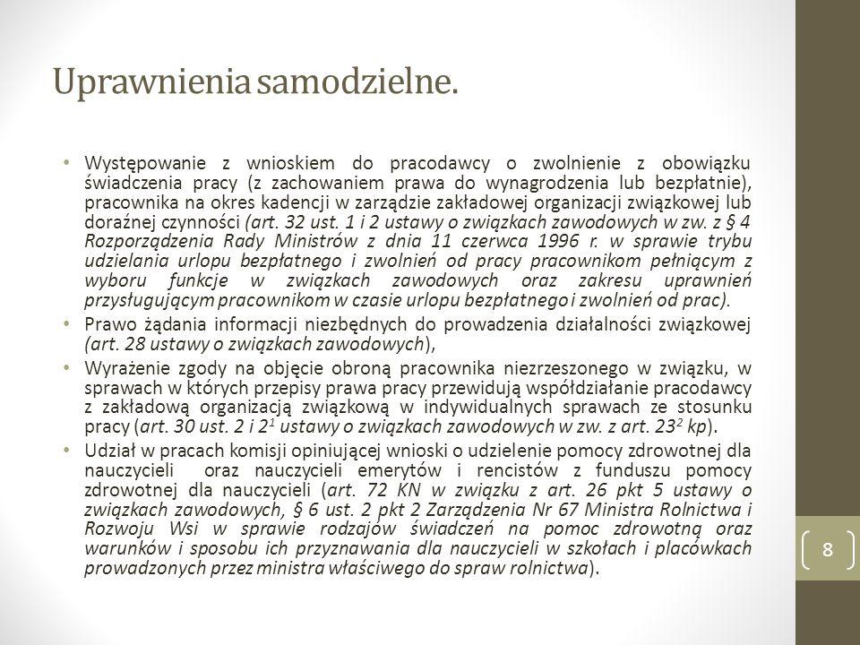 Zasady współdziałania ze związkami zawodowymi Art.