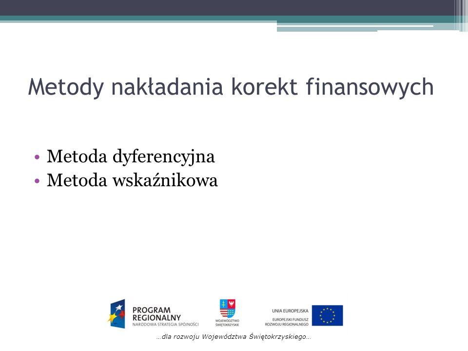 …dla rozwoju Województwa Świętokrzyskiego… Metody nakładania korekt finansowych Metoda dyferencyjna Metoda wskaźnikowa