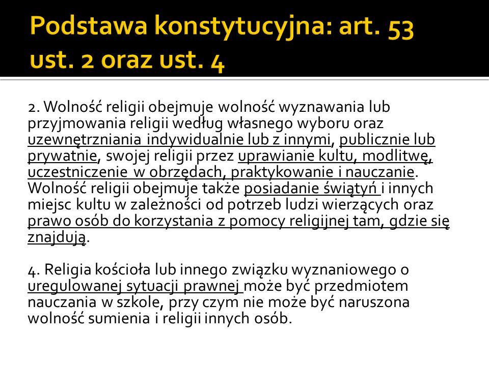 1/ Ustawa gwarancjach wolności sumienia i wyznania 2/ Ustawa o stosunku państwa do Kościoła katolickiego 3/ Konkordat 4/ Ustawa o cmentarzach i chowaniu zmarłych 5/ Kodeks karny wykonawczy