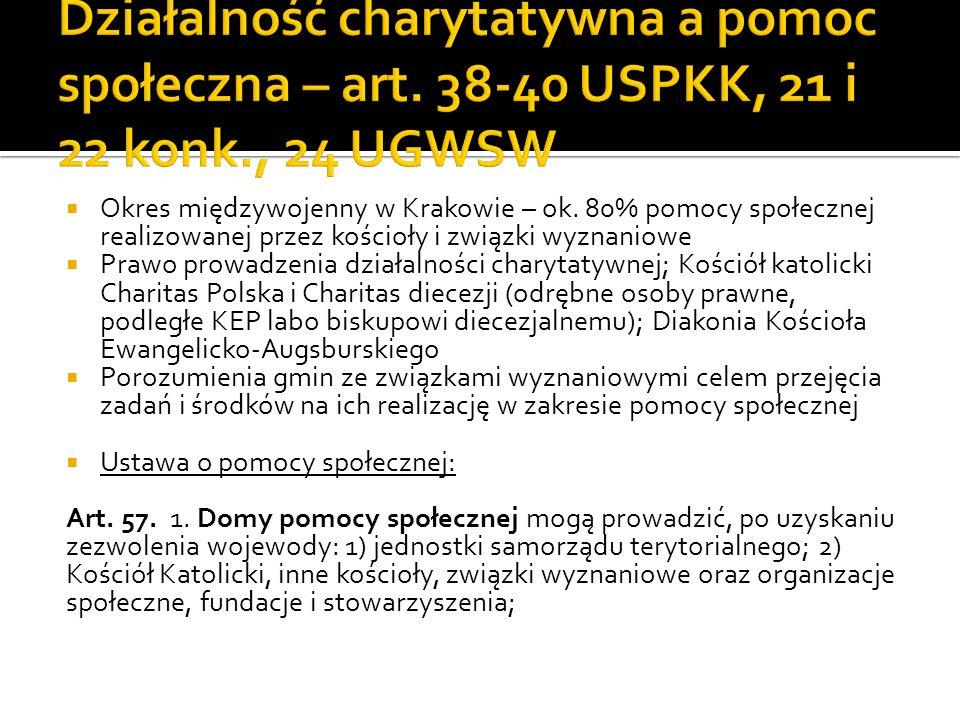 Okres międzywojenny w Krakowie – ok. 80% pomocy społecznej realizowanej przez kościoły i związki wyznaniowe Prawo prowadzenia działalności charytatywn