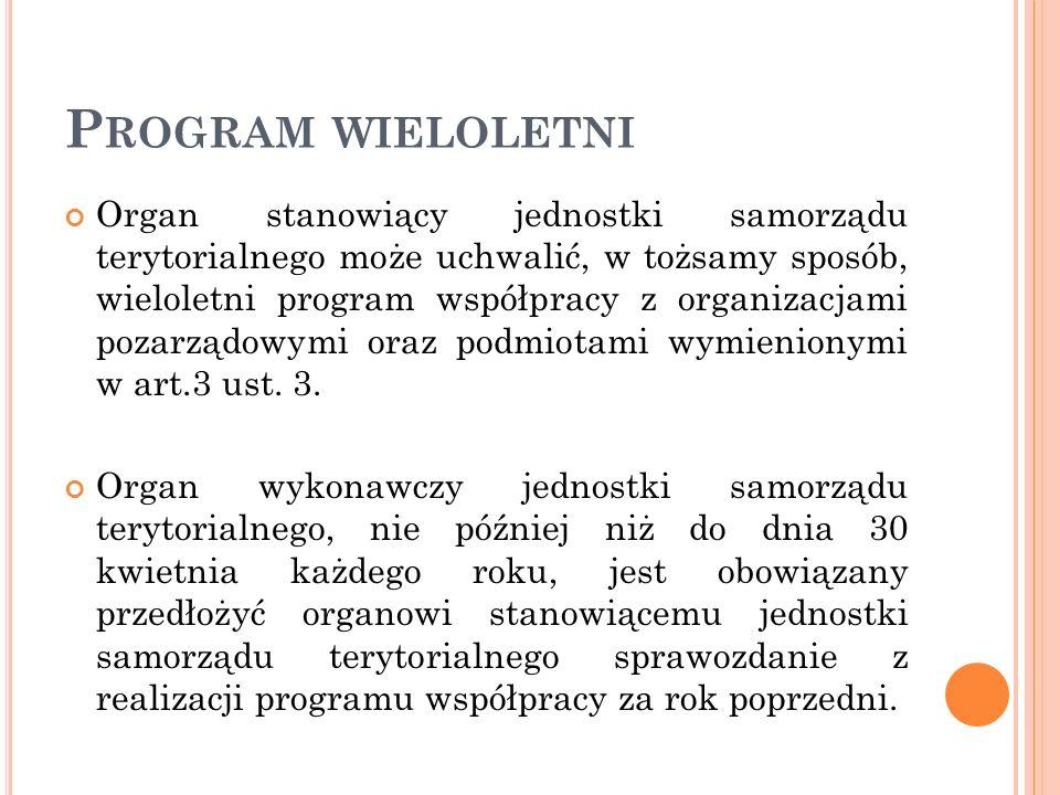 P ROGRAM WIELOLETNI Organ stanowiący jednostki samorządu terytorialnego może uchwalić, w tożsamy sposób, wieloletni program współpracy z organizacjami