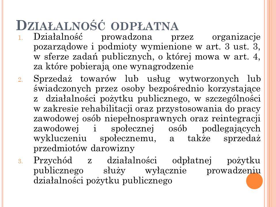 D ZIAŁALNOŚĆ ODPŁATNA 1. Działalność prowadzona przez organizacje pozarządowe i podmioty wymienione w art. 3 ust. 3, w sferze zadań publicznych, o któ